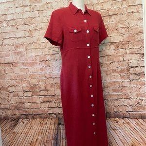 Vintage Studio linen blend button down dress